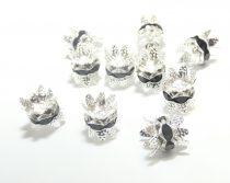 Ezüst Színű Nyaklánc Karkötő Ékszer Dísz Fekete Strassz Kövekkel 8x9,5mm