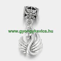 Ezüst Színű Hattyú Charm Medál Nyaklánc Karkötő Ékszer Dísz Köztes 28x12,5mm