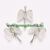 Ezüst Színű Hegyikristály Angyal Medál 34x23x8mm