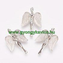 Ezüst Színű Hegyikristály Angyal Ásvány Medál 34x23x8mm