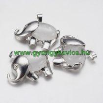 Ezüst Hegyikristály Ásvány Elefánt Medál 29x37x10mm