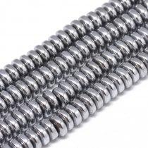 Ezüst Hematit Korong Ásványgyöngy 6x2,5mm