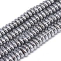 Ezüst Hematit Korong Ásványgyöngy Gyöngyfüzér 6x2,5mm
