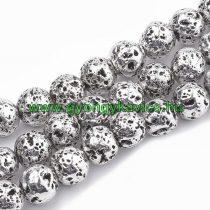 Ezüst Hematit Lávakő Imitáció Ásványgyöngy 6mm