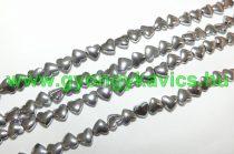 Ezüst Hematit Szív (2) Ásványgyöngy Gyöngyfüzér 6x5,5x3mm