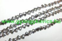 Ezüst Hematit Szív (2) Ásványgyöngy 6x5,5x3mm