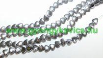 Ezüst Hematit Szív Ásványgyöngy 6x6,5x2,5mm