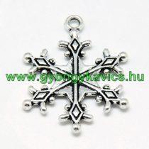 Ezüst Színű Hópehely Medál Karácsonyfa Dísz 28x22mm