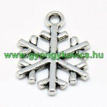 Ezüst Színű Hópehely Medál Karácsonyfa Dísz 20x15mm