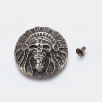 Ezüst Színű Indián Koponya Szegecs Táskadísz 34,5mm