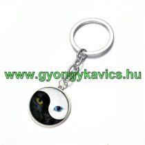 Ezüst Színű Jin Jang Macska Cica (20) Kulcstartó Karika 25x80mm