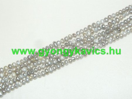 Ezüst Kagyló Gyöngy Gyöngyfüzér 3-4x3-5mm