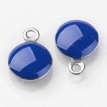 Ezüst Kék Színű Tűzzománc Gömb Medál 11x8mm