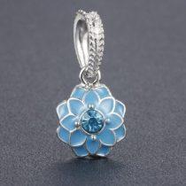 Kék Türkiz Színű Strasszos Tűzzománc Ezüst Virág Nyaklánc Karkötő Ékszer Dísz Medál 12mm