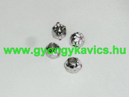 Ezüst Színű Virágos Nyaklánc Karkötő Ékszer Dísz Rózsaszín Strassz Kövekkel 9x12mm