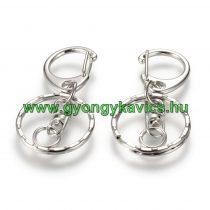 Ezüst Színű Kulcstartó Karika Kapoccsal 25x70mm