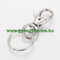 Ezüst Színű Kulcstartó Karika Kapoccsal 25x60mm