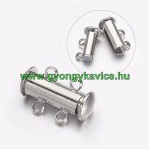 Ezüst Színű 2 Dupla Soros Mágneses Nyaklánc Karkötő Ékszer Kapocs 15x11,5x6mm