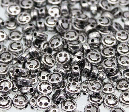 Ezüst Színű Antikolt Műanyag Smile Smiley Nyaklánc Karkötő Ékszer Dísz Közdarab Köztes 6mm