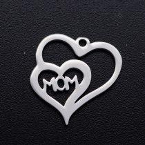 Ezüst Színű Nemesacél Anya Szív Medál 15x15mm