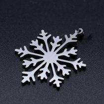 Ezüst Színű Nemesacél Hópehely Medál Karácsonyfa Dísz 26,5x19,5mm