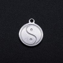 Ezüst Színű Nemesacél Jin Jang Medál 14x12mm