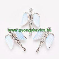 Ezüst Színű Opalit Angyal Medál 34x23x8mm