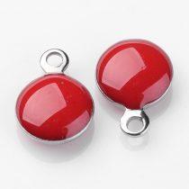 Ezüst Piros Színű Tűzzománc Gömb Medál 11x8mm