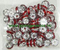 Ezüst Színű Nyaklánc Karkötő Ékszer Dísz Piros Strassz Kövekkel 6x3mm