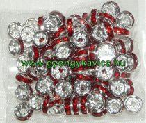 Ezüst Színű Nyaklánc Karkötő Ékszer Dísz Piros Strassz Kövekkel 6mm