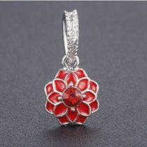 Piros Színű Strasszos Tűzzománc Ezüst Virág Nyaklánc Karkötő Ékszer Dísz Medál 12mm