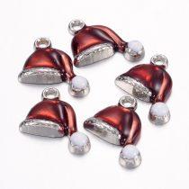 Ezüst Piros Színű Tűzzománc Mikulássapka Medál Karácsonyfa Dísz 16,5x17mm