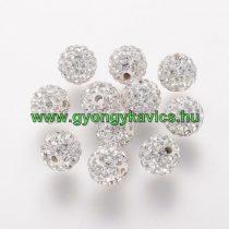 Ezüst Színű FÜLBEVALÓ ALAP (félig átfúrt) Ékszer Dísz Polymer Polimer Shamballa Strassz Kövekkel 8mm