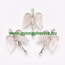 Ezüst Színű Rózsakvarc Angyal Ásvány Medál 34x23x8mm