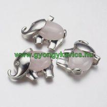 Ezüst Rózsakvarc Ásvány Elefánt Medál 29x37x10mm