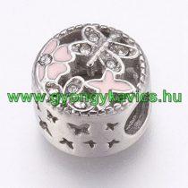Ezüst Színű Rózsaszín Lepke Pillangó Charm Nyaklánc Karkötő Ékszer Dísz Köztes Strassz Kövekkel 12x8,5mm