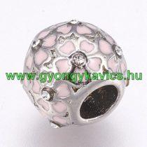 Ezüst Színű Rózsaszín Virágos Charm Nyaklánc Karkötő Ékszer Dísz Köztes Strassz Kövekkel 10,5x9mm