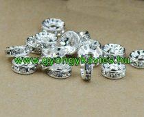 Ezüst Színű Nyaklánc Karkötő Ékszer Dísz Strassz Kövekkel 6x2mm