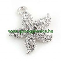 Ezüst Színű Strasszos Tengeri Csillag Medál 22x20mm