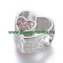 Ezüst Színű Szív Charm Nyaklánc Karkötő Ékszer Dísz Köztes Rózsaszín Strassz Kövekkel 11x11,5x7,5mm