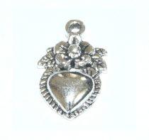 Ezüst Színű Szív Medál 18x11,2mm