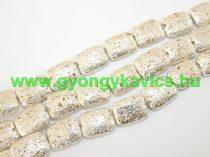 Ezüst Téglalap Lávakő Ásványgyöngy 20,5x15,5mm