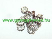 Ezüst Színű Nyaklánc Karkötő Ékszer Dísz Köztes Világos Ametiszt Színű Strassz Kövekkel 8mm
