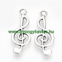 Ezüst Színű Violinkulcs Medál 24x10mm