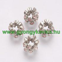 Ezüst Színű Virág Charm Medál Nyaklánc Karkötő Ékszer Dísz Köztes Rózsaszín Strassz Kövekkel 10,5x7,5mm