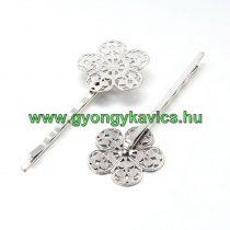 Ezüst Színű Virágos Hullámcsat Hajcsat 63x23mm