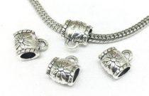 Ezüst Színű Virágos Medáltartó Nyaklánc Karkötő Ékszer Dísz Közdarab Köztes Charm 8x10mm