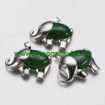 Ezüst Zöld Jade Ásvány Elefánt Medál 29x37x10mm