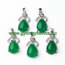 Ezüst Zöld Jade Strasszos Ásvány Medál 28x14x7,5mm