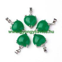Ezüst Zöld Jade Szív Strasszos Ásvány Medál 27x15x8mm